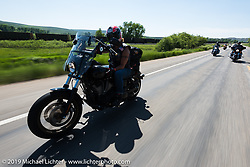 Valerie Peters of Chino Valley, AZ on her Lowrider S riding from Steamboat Springs, Colorado, to Baggs, Wyoming during the Rocky Mountain Regional HOG Rally, USA. Friday June 9, 2017. Photography ©2017 Michael Lichter.