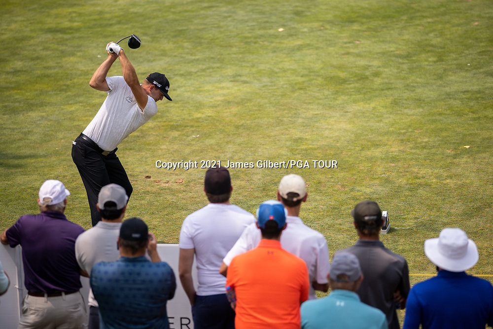 FARMINGTON, UT - AUGUST 08: Taylor Montgomery plays his shot from the 3rd tee during the final round of the Utah Championship presented by Zions Bank at Oakridge Country Club on August 8, 2021 in Farmington, Utah. (Photo by James Gilbert/PGA TOUR via Getty Images)