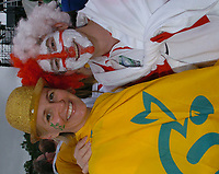 Photo: Steve Holland.<br />Australia v England. Rugby World Cup Final, at the Telstra Stadium, Sydney. RWC 2003. 22/11/2003. <br />Australian and English fans engoy the pre-match atmosphere.