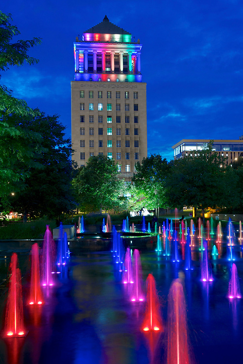 The Civil Courts Building during Pride Week in St. Louis, Missouri.  It is a landmark court building used by the 22nd Judicial Circuit Court of Missouri.