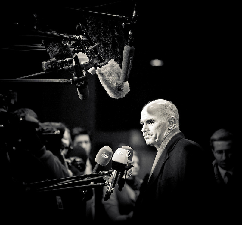 Brussels, Belgium 16 December 2010.Greece's Prime Minister Georgios Papandreou arrives at a two-day European Heads of States Summit meeting in Brussels..Photo: SCORPIX / Ezequiel Scagnetti