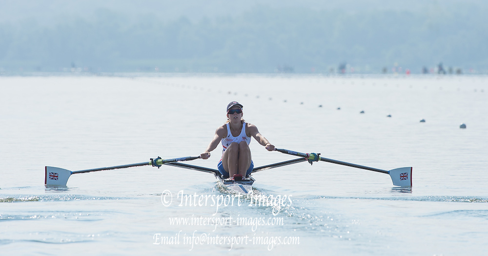 Varese, ITALY. GBR BLW1X. Emily CRAIG. for her repechage.  FISA U23 World Championships. Held on Lake Varese  09:37:13  Friday  25/07/2014  [Mandatory Credit; Peter Spurrier/Intersport-images]