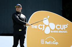 Oct 18, 2018-Jeju, South Korea-Gary Woodland of USA action on the 17th tee during the PGA Golf CJ Cup Nine Bridges Round 1 at Nine Bridges Golf Club in Jeju, South Korea.