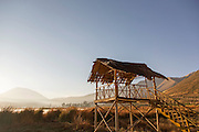 Wildlife watch tower at sunrise in the Huacarpay Valley, Sacred Valley, Peru, South America