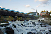 Covered bridge and river in Bath NH.