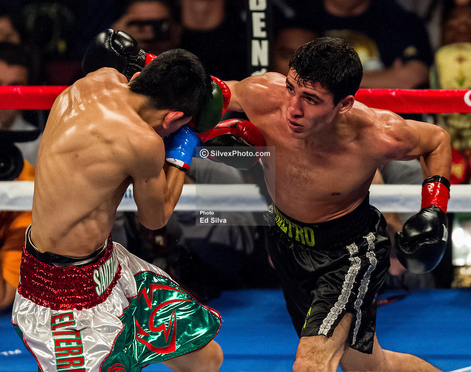 LOS ANGELES, CA - DEC 15: Unbeaten bantamweight titleholder Leo Santa Cruz (white/green trunks) and boxer Alberto Guevara (black trunks) trade punches during their bout at the Los Angeles Memorial Sports Arena in Los Angeles, CA 2012/12/15. Leo Santa Cruz won by unanimous decision. Byline and/or web usage link must  read PHOTO: © Eduardo E. Silva/SILVEX.PHOTOSHELTER.COM.