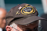 Veterans wear uniforms or other military memorabilia, including as pins and patches, during the City of Milpitas Memorial Day ceremony at Milpitas City Hall in Milpitas, California, on May 30, 2016. (Stan Olszewski/SOSKIphoto)