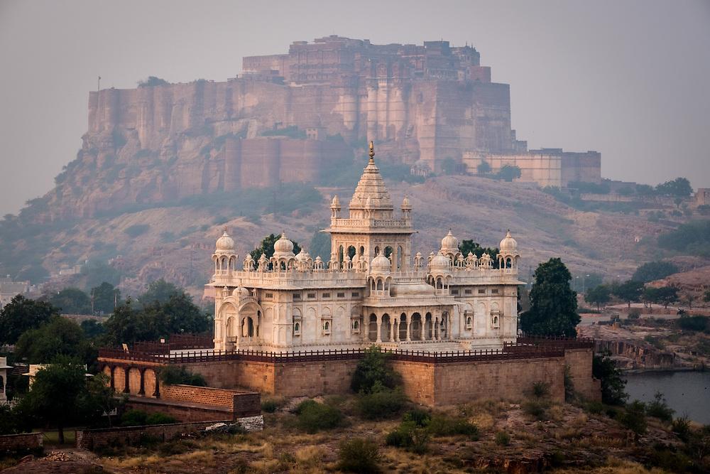 JODHPUR, INDIA - CIRCA NOVEMBER 2016:  Jaswant Thada Memorial and the Mehrangarh Fort in Jodphur