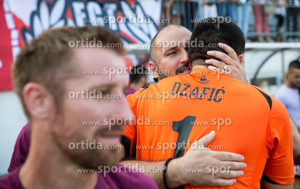 Sinisa Brkic, coach of Triglav and Elvis Dzafic of Triglav celebrate after winning during 2nd Leg football match between NK Triglav Kranj and NS Drava Ptuj in Qualifications of Prva Liga Telekom Slovenije 2018/19, on June 6, 2018 in Kranj, Slovenia. Photo by Vid Ponikvar / Sportida
