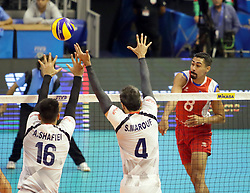 September 12, 2018 - Varna, Bulgaria - in the right Eddie RIVERA (Puerto Rico), .FIVB Volleyball Men's World Championship 2018, pool D, Iran vs Puerto Rico,. Palace of Culture and Sport, Varna/Bulgaria, .the teams of Finland, Cuba, Puerto Rico, Poland, Iran and co-host Bulgaria are playing in pool D in the preliminary round. (Credit Image: © Wolfgang Fehrmann/ZUMA Wire)