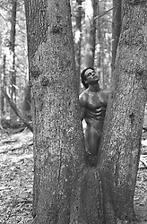 nude man in the woods between trees