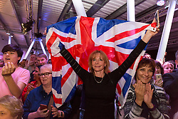 © Licensed to London News Pictures. 04/06/2016. LONDON, UK.  Supporters attend a Vote Leave rally at Forman's Fish Island in east London. Vote Leave is the official campaign for a Leave vote (Brexit) in the EU Referendum that will take place in the United Kingdom on the 23rd June 2016.  Photo credit: Vickie Flores/LNP
