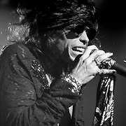 Steven Tyler of Aerosmith performs at Lehigh University in Bethlehem, Pennsylvania on November 20, 1987. ©Lisa Lake
