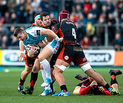 Scott Williams of Ospreys under pressure from Brandon Nansen of Dragons<br /> <br /> Photographer Simon King/Replay Images<br /> <br /> Guinness PRO14 Round 12 - Dragons v Ospreys - Sunday 30th December 2018 - Rodney Parade - Newport<br /> <br /> World Copyright © Replay Images . All rights reserved. info@replayimages.co.uk - http://replayimages.co.uk