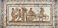 Picture of a Roman mosaics design depicting Dionysus drunk being transported on a chariot pulled by a centaur, they are followed by a Bacchante, follower of Bacchus, and a Satyr, from the ancient Roman city of Thysdrus. 3rd century AD House of Tertulla. El Djem Archaeological Museum, El Djem, Tunisia. .<br /> <br /> If you prefer to buy from our ALAMY PHOTO LIBRARY  Collection visit : https://www.alamy.com/portfolio/paul-williams-funkystock/roman-mosaic.html  . Type -   El Djem   - into the LOWER SEARCH WITHIN GALLERY box. Refine search by adding background colour, place, museum etc<br /> <br /> Visit our ROMAN MOSAIC PHOTO COLLECTIONS for more photos to download  as wall art prints https://funkystock.photoshelter.com/gallery-collection/Roman-Mosaics-Art-Pictures-Images/C0000LcfNel7FpLI