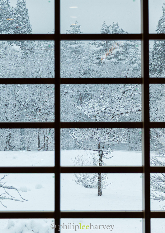 Scenic winter landscape with covered in snow forest seen through grate, Shirakawa-go, Japan