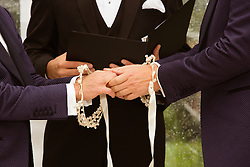 detail of two men getting married