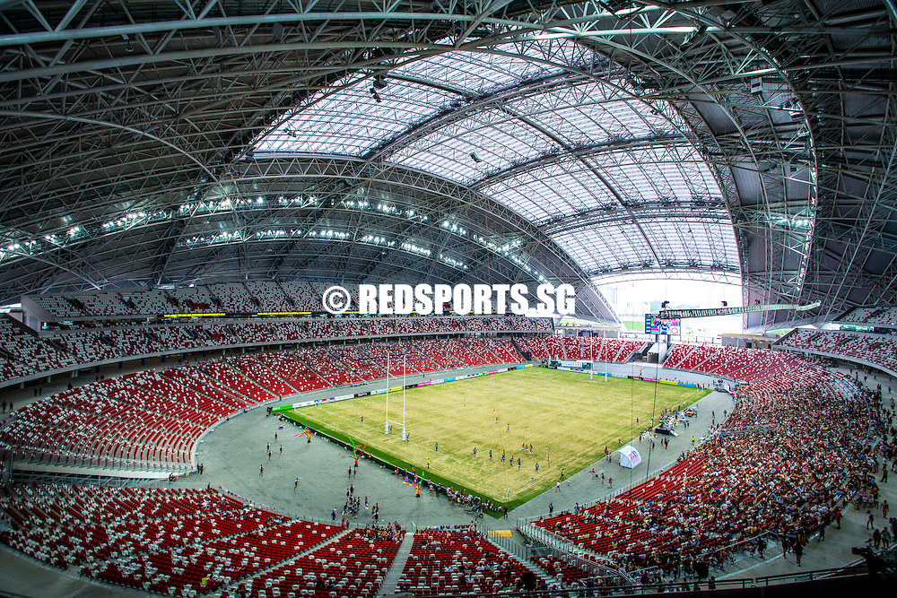 A general view of the National Stadium at the Singapore Sports Hub during the Rugby World Club 10s on June 22, 2014, in Singapore.