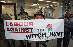 © Licensed to London News Pictures. 23/01/2018. London, UK. The campaign group LAW (Labour Against the Witch-hunt) protest outside Labour Party headquarters ahead of an NEC (National Executive Committee) meeting. The group are campaigning against the suspension of party members over alledged antisemitism.  Photo credit: Peter Macdiarmid/LNP