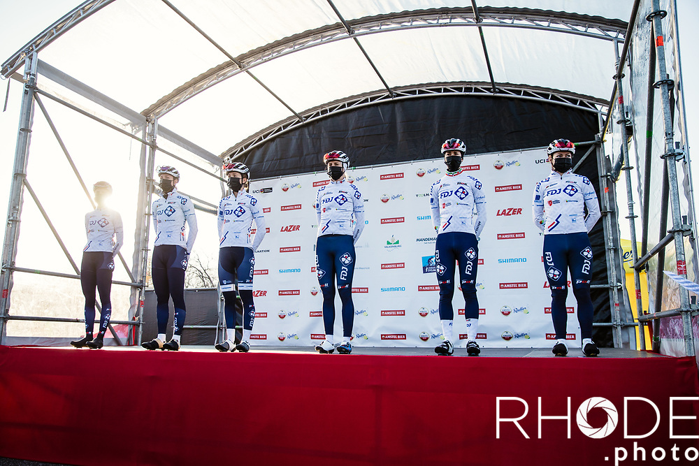 Team FDJ Nouvelle-Aquitaine Futuroscope at the pre race team presentation<br /> <br /> 7th Amstel Gold Race Ladies Edition <br /> Valkenburg > Valkenburg 116km<br /> <br /> ©RhodePhoto