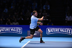 November 18, 2017 - London, England, United Kingdom - Jack Sock of the United States plays a backhand in his semi final match against Grigor Dimitrov of Bulgaria at the Nitto ATP World Tour Finals at O2 Arena on November 18, 2017 in London, England. (Credit Image: © Alberto Pezzali/NurPhoto via ZUMA Press)