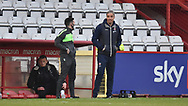 Cheltenham Town's Manager: Michael Duff [NIR] during the EFL Sky Bet League 2 match between Stevenage and Cheltenham Town at the Lamex Stadium, Stevenage, England on 20 April 2021.