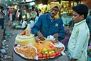 Meena Bazar and snack food market in Muslim area of Old Delhi, India