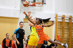 Aaryn Ellenberg-Wiley of MBK Ruzomberok in action during basketball match between ZKK Cinkarna Celje (SLO) and MBK Ruzomberok (SVK) in Round #6 of Women EuroCup 2018/19, on December 13, 2018 in Gimnazija Celje Center, Celje, Slovenia. Photo by Urban Urbanc / Sportida