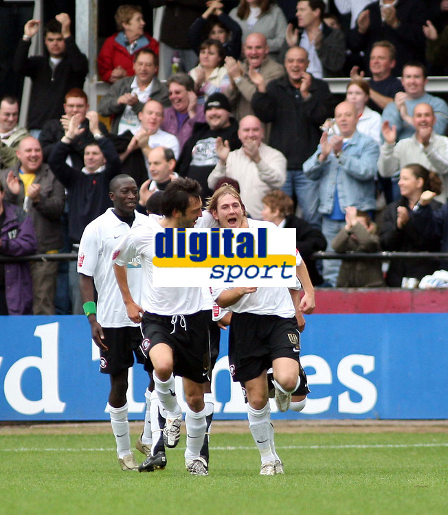 Photo: Mark Stephenson/Sportsbeat Images.<br /> Hereford United v Darlington. Coca Cola League 2. 03/11/2007.Hereford's Richard Rose (R) celebrates his first half goal with team mate Clint Easton  for 1-0