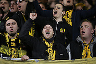 Borussia Dortmund fans chanting before k/o. UEFA Europa League round of 16, 2nd leg match, Tottenham Hotspur v Borussia Dortmund at White Hart Lane in London on Thursday 17th March 2016<br /> pic by John Patrick Fletcher, Andrew Orchard sports photography.