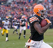 Braylon Edwards streaks down the sideline after a 63-yard catch and run.