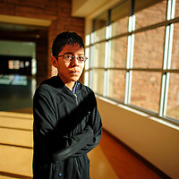022614  Adron Gardner/Independent<br /> <br /> Tse'hoot'sooi Middle School student Jaden Redhair hopes to be in Washington D.C. this July to participate  in the World Leadership Forum.  This week, he will set his sights on the Navajo Nation Science Fair.