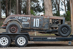 Hotrod in the TROG West campground - The Race of Gentlemen. Pismo Beach, CA, USA. Sunday October 16, 2016. Photography ©2016 Michael Lichter.