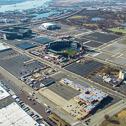 Aerial view of the View Philadelphia Sports Complex skyline.View south towards Navy Yard and Delaware River, route 95