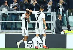 September 26, 2018 - Turin, Italy - Juventus v Bologna - Serie A .Paulo Dybala of Juventus celebrates with Cristiano Ronaldo after scoring the goal of 1-0 at Allianz Stadium in Turin, Italy on September 26, 2018. (Credit Image: © Matteo Ciambelli/NurPhoto/ZUMA Press)