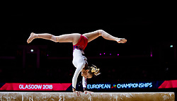 Bulgaria's Greta Banishka on the beam during day one of the 2018 European Championships at The SSE Hydro, Glasgow.
