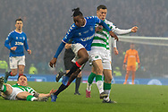 Joe Aribo of Rangers FC collides with Callum McGregor of Celtic FC during the Betfred Scottish League Cup Final match between Rangers and Celtic at Hampden Park, Glasgow, United Kingdom on 8 December 2019.