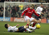 Photo: Paul Thomas , Digitalsport<br />  Nottingham Forest v Preston North End. Forest Ground, Nottingham. Coca Cola Championship. 23/02/2005. Richard Creswell tackles Notts player Kris Commons