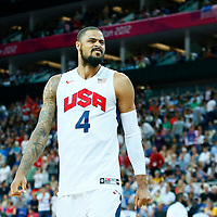 08 August 2012: USA Tyson Chandler is seen during 119-86 Team USA victory over Team Australia, during the men's basketball quarter-finals, at the 02 Arena, in London, Great Britain.
