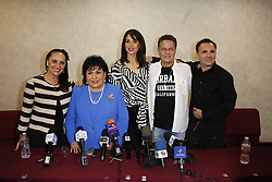 """BURBANK, CA - JUNE 1: Aventurera Cast (L-R) Payin Cejudo, Carmen Salinas, Susana Gonzalez, Alxis Ayala and Enrique Quiroz attend Aventurera USA Press Conference at The Holiday Inn Burbank Media Center to promote the Mexican Theater Play """"Aventurera USA"""", in Burbank, California USA. 2017 June 2. Byline, credit, TV usage, web usage or linkback must read SILVEXPHOTO.COM. Failure to byline correctly will incur double the agreed fee. Tel: +1 714 504 6870."""