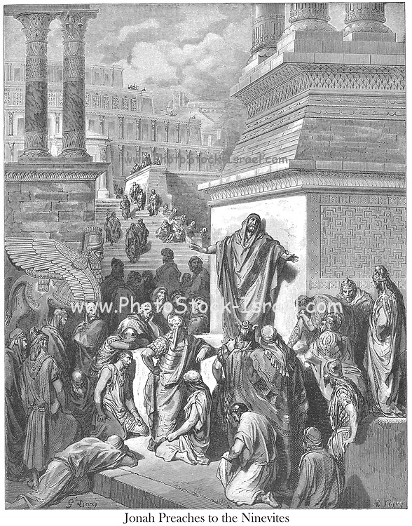 Jonah Preaching to the Ninevites Jonah 3:4-5 From the book 'Bible Gallery' Illustrated by Gustave Dore with Memoir of Dore and Descriptive Letter-press by Talbot W. Chambers D.D. Published by Cassell & Company Limited in London and simultaneously by Mame in Tours, France in 1866
