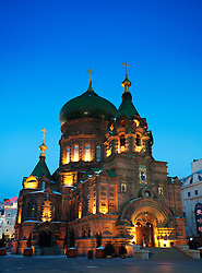 Evening view of illuminated Saint Sophia church formerly Russian Orthodox religion in Harbin China