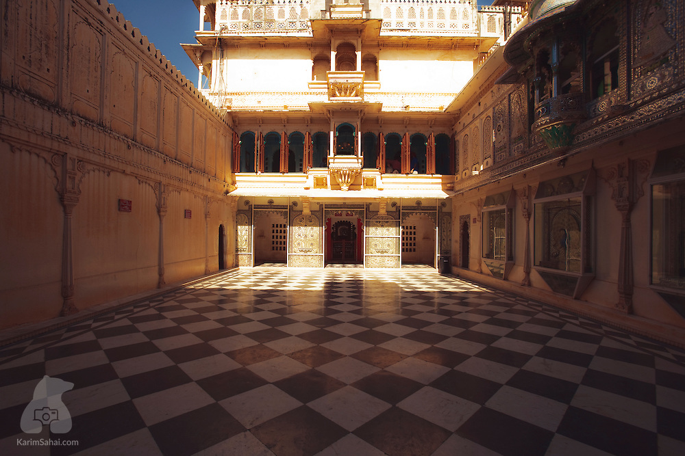 Considered the most spectacular courtyard of the City Palace in Udaipur, (Rajasthan, India), Mor Chowk - the 'Peackock Courtyard' - showcases sophisticated 19th century glass mosaics in the walls overlooking the courtyard itself. The Peacock Courtyard one of the main features of Mardana Mahal (Palace od Kings) which is part of the larger City Palace complex. Often hired as a wedding venue, Mor Chowk provides an intimate setting for up to 50 guests.