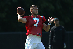 July 28, 2018 - Spartanburg, SC, U.S. - SPARTANBURG, SC - JULY 28: Kyle Allen (7) quarterback Carolina Panthers throws a pass during the teams third day of training camp of the 2018 season on Saturday July 28, 2018 at Wofford College in Spartanburg, S.C.(Photo by John Byrum/Icon Sportswire) (Credit Image: © John Byrum/Icon SMI via ZUMA Press)