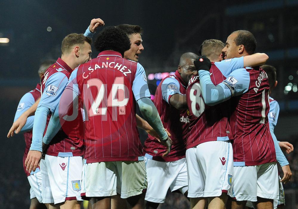 Aston Villa's Gabriel Agbonlahor celebrates with his team mates after scoring. - Photo mandatory by-line: Dougie Allward/JMP - Mobile: 07966 386802 - 24/11/2014 - SPORT - Football - Birmingham - Villa Park - Aston Villa v Southampton - Barclays Premier League
