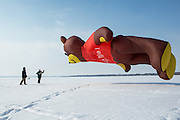 Larry Day (right) and Mark Brandt of Clear Lake fly Day's giant 40-foot-tall teddy bear kite Saturday, Feb. 8, 2014, on Clear Lake.