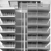Lido di Jesolo, Italy, Veneto, 2011: View of Jesolo Lido Condomunium and Hotel, facade under construction.  The brise-soleil system that runs continuously along the East and West elevations - front of Adriatico sea - Richard Meier arch - Photographs by Alejandro Sala