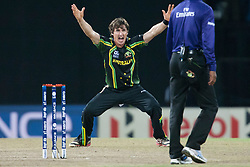 © Licensed to London News Pictures. 28/09/2012. Australian spin bowler Brad Hogg appeals a LBW decision during the T20 Cricket World cup match between Australia Vs India at the R.Premadasa Cricket Stadium,Colombo. Photo credit : Asanka Brendon Ratnayake/LNP
