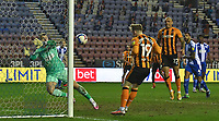 Hull City's Keane Lewis-Potter scores his team's third goal<br /> <br /> Photographer Dave Howarth/CameraSport<br /> <br /> The EFL Sky Bet League One - Wigan Athletic v Hull City - Wednesday 17th February 2021 - DW Stadium - Wigan<br /> <br /> World Copyright © 2021 CameraSport. All rights reserved. 43 Linden Ave. Countesthorpe. Leicester. England. LE8 5PG - Tel: +44 (0) 116 277 4147 - admin@camerasport.com - www.camerasport.com