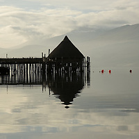 The Crannog on Loch Tay, Kenmore, Perthshire, Scotland, an &#x9; unique reconstruction of an early Iron Age loch-dwelling, built by the Scottish Trust for Underwater Archaeology.<br />